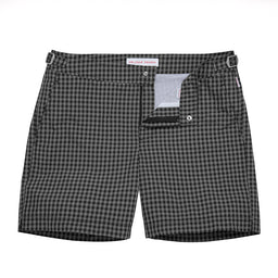 Bulldog Swim Shorts - Mid-Length - Gingham - Black/Ebony