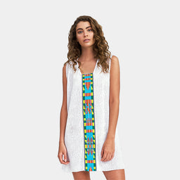 Cheetah Tribal Mini Dress - White