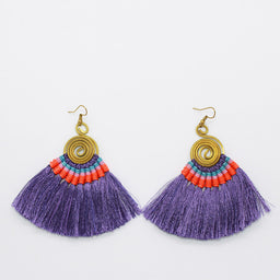 Pompom Earrings - Purple / Orange