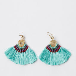 Pompom Earrings - Aqua / Red