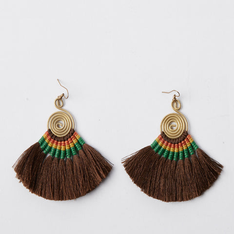 Pompom Earrings - Brown / Green