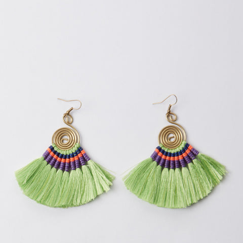 Pompom Earrings - Light Green / Purple