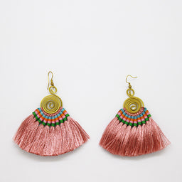 Pompom Earrings - Rose / Green