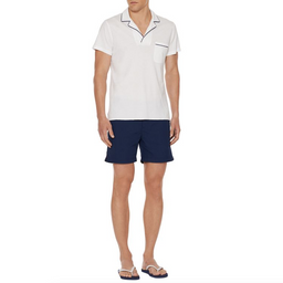Donald - Classic Fit Waffle Cotton Polo - White/Navy
