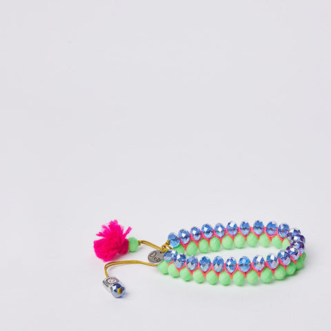 Navajo Bracelet - S - Light Green & Blue / Fuchsia Pom Pom