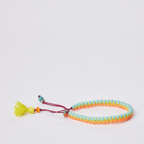 Navajo Bracelet - XXS - Orange & Blue / Yellow Pom Pom