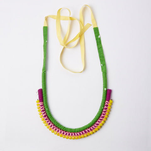 Necklace - Navajo - Green & Purple / Yellow beads