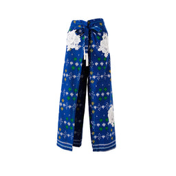 Batik Pants - Blue Polka with White Rosette