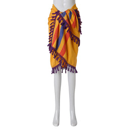 Inabel travel Blanket - Marigold with Violet Fringe