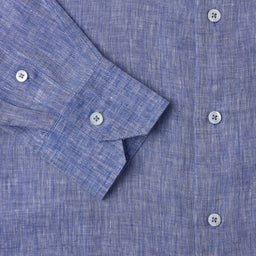 Linen Shirt - Regular Fit - Melange Navy Blue