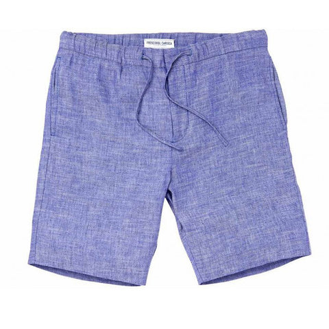 Linen Shorts - Block - Melange Blue