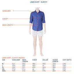 Linen Shirt - Slim Fit - Mid Blue