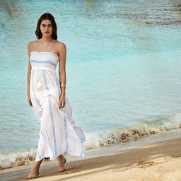 Gili Island - Smocked Bandeau Maxi Dress - Print