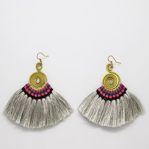 Pompom Earrings - Grey / Black