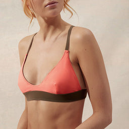 BB Reversible Cross Back Scoop Top - Coral/Taupe