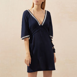 Carlisle Bay - Lace Trim Kaftan - Navy