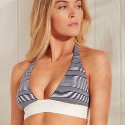 Cote Savage - Square Halter Padded Top - Navy / White