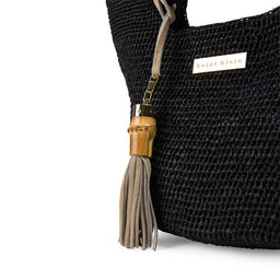 Grace Bay - Super Mini Raffia Bucket Bag - Black