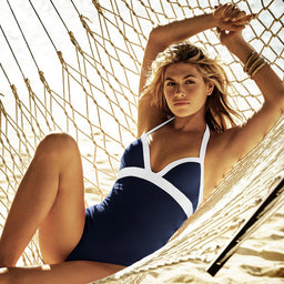 Harbour Island - Push Up - One Piece - Navy / White