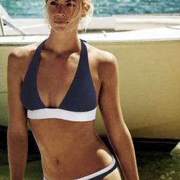 Harbour Island - Square Halter Top - Navy / White