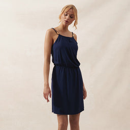 Ibiza - Drop Waist Mini Dress - Navy