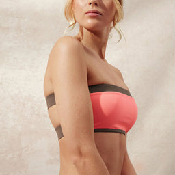 BB Reversible - Wide Bandeau Top - Coral/Taupe