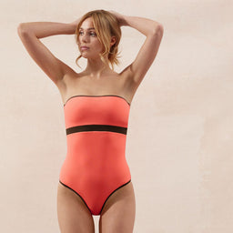 BB Reversible - Bandeau - One Piece - Coral/Taupe