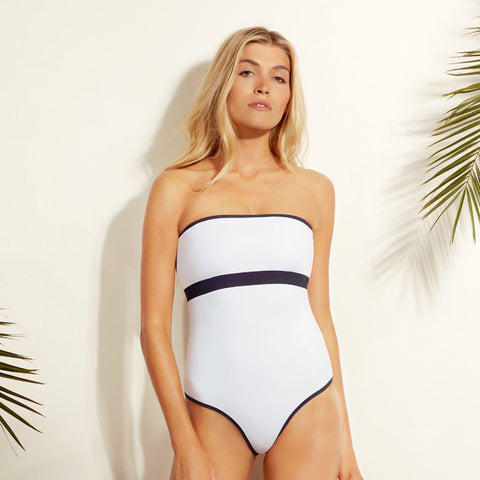 BB Reversible - Bandeau - One Piece - White / Navy