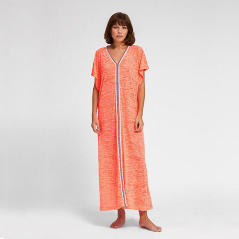 Inca Abaya Dress - Coral w/ White