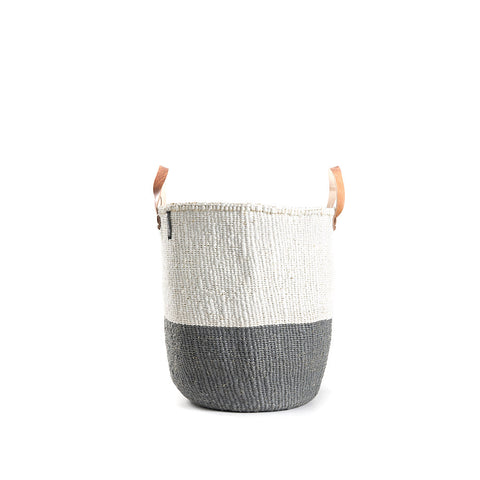 Kiondo Basket with Handles - 50/50 - Grey / White