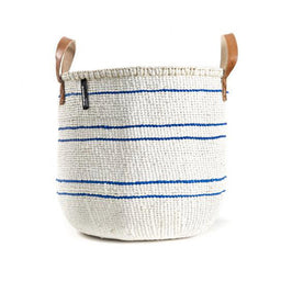 Kiondo Basket with Handles 5 Stripes - Blue / White