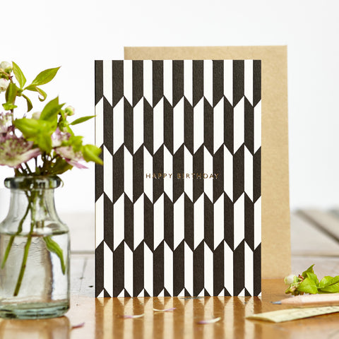 Greeting Card - Birthday card - Chevron Black / White