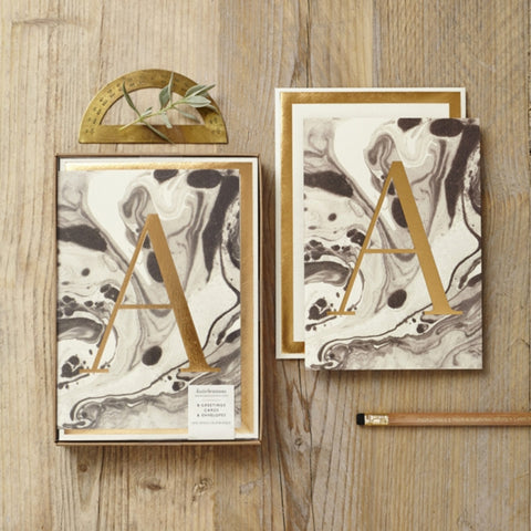 Greeting cards - Marbled Alphabet - A
