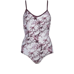 Arabesque Reversible Swimsuit - Solid Maroon / Maroon Marble