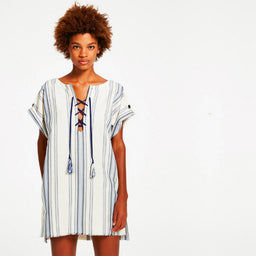 Halima Lace Up Tunic - Blue