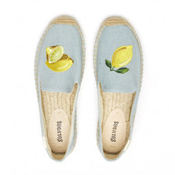 Lemon Embroidered Platform Espadrilles - Chambray