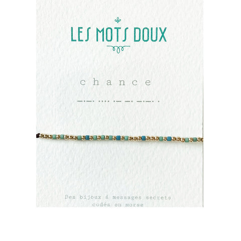 Morse Code Bracelet - Chance / Luck - Sea Green