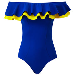 Mira Flounce Maillot - Double ruffle - Royal blue / Lemon