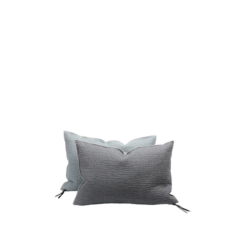 Cushion - Vice Versa / Quilted Crumpled Washed Linen - Ardoise / Nuage - 40x60cm