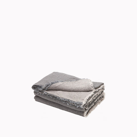 Throw - Vice Versa / Crumpled Washed Linen - Ardoise / Givre