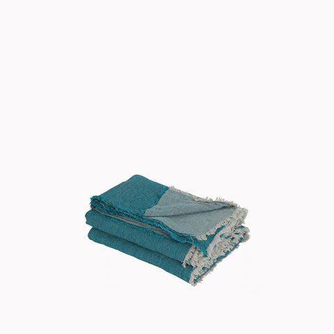 Throw - Vice Versa / Crumpled Washed Linen - Canard / Givre