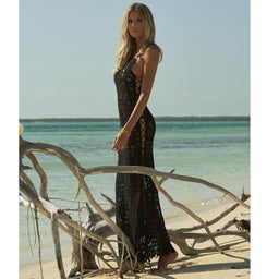 Jamie Lace Long Dress - Black