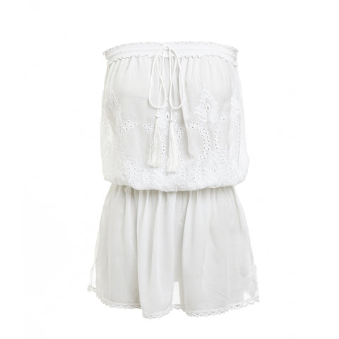 Fruley Bandeau Dress - White