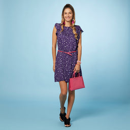 Kaelyn Dress - Star Print - Purple / Lilac