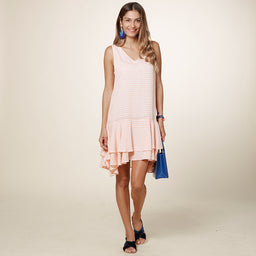 Karrena Dress - Gingham - Peach