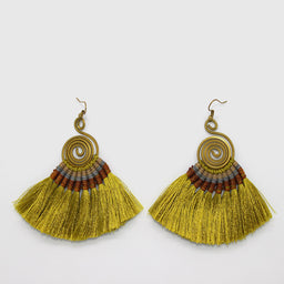 Pompom Earrings - Olive / Brown