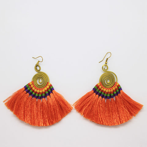 Pompom Earrings - Orange / Purple