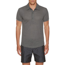 Sebastian - Polo Shirt - Tailored Fit - Linen - Fossil