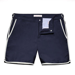 Bulldog Swim Shorts - Mid Length - Navy/White Binding