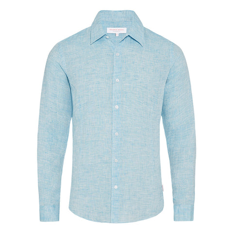 Morton - Linen Tailored Fit Shirt - Azure
